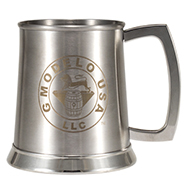 Stainless Steel 0.5L Tankard with Brown Laser Engraving<br>